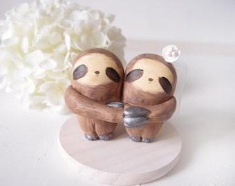 Custom Handmade Wedding Cake Toppers - Love Sloth with base