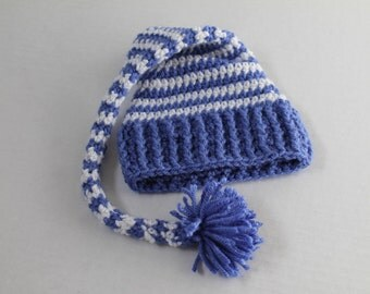 Crochet Elf Hat, Baby Hat - Periwinkle and Sparkly White