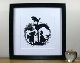 Square Snow White's Apple Papercut Print