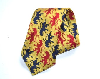 Vintage  Lions Design Tie Habands polyester tie Mad Men 60s tie mid century Christmas gift tie Fathers day  gift for him