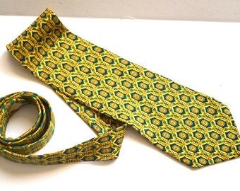 Vintage GIANNI VERSACE  Designer tie collectible authentic silk tie Men's Necktie Made in Spain green yellow High Fashion wedding groom tie