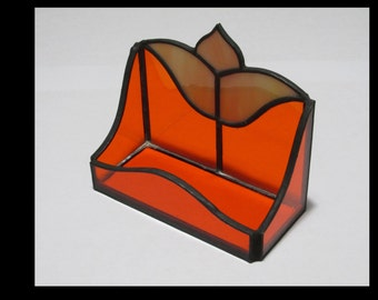 Stained Glass Business Card Holder Orange - Price Includes Shipping