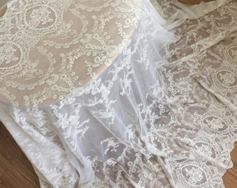 Vintage Style Lace Fabric in Beige , French Lace Fabric, Wedding Fabric, Cotton Embroidered Lace by Yard