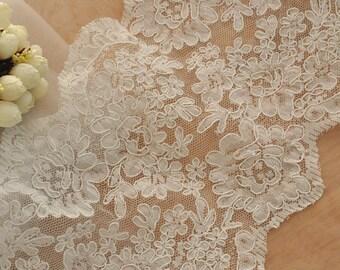 SALE French Alencon Lace Trim , Bridal Veil Wedding Lace Trim, Scallop Embroidered Floral Trim Lace