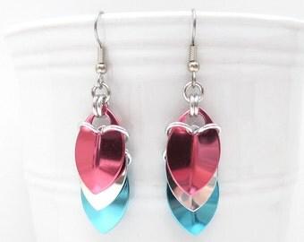 Transgender pride earrings, trans pride jewelry, chainmail scales earrings; pink white blue