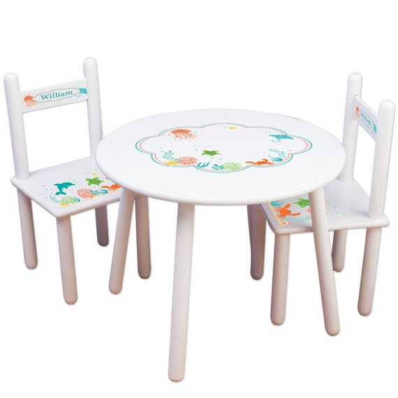 Childs Sea Life Table Chair Set Kids Furniture For Nautical