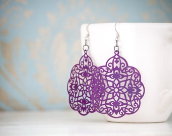 Purple Metal Lace Dangles