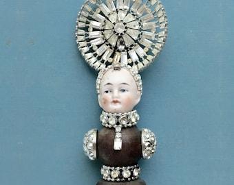 mixed media assemblage, Grand Dutchess 110, original art dolls, doll head ornament, by Elizabeth Rosen