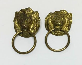 Vintage Metal Lion Head Ring Emblems / Appliques