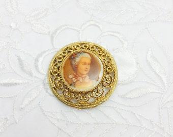 Vintage Victorian  Brooch, Painted Porcelain, Lady Portrait  Gold Tone Art Deco, Item No. B311