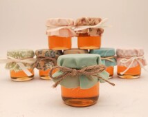 12 Mini 2oz Honey Jar Favors With Mixed Vintage Fabrics! Adorable For A Vintage-Inspired Wedding