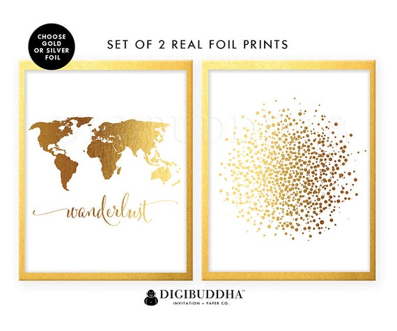 Gold foil prints set of 2 art prints world map wanderlust and il570xn gumiabroncs Images