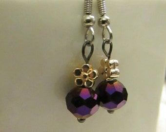 Round Purple Glass earrings