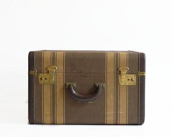 vintage tweed striped suitcase with key 1940s luggage