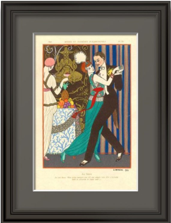 ART DECO Home Decor Print of Couple Dancing by Barbier 1914