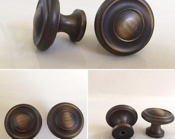 Set of Two Round Vintage Bronze Drawer Knobs