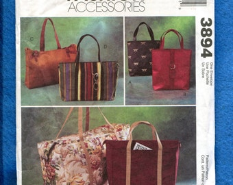 McCalls 3894 Tote Bags Beach Bags Purses Pattern UNCUT