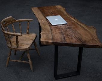 LIVE EDGE black walnut desk w/ flat black metal bases