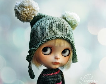 FRUIT CANDY Gooseberry Pom Pom Ooak HELMET For Blythe By Odd Princess Atelier, Hand Knitted, Winter Collection