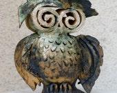 Cute wise owl , home decor Owl Ceramic Sculpture,  funny art.   Symbol of wisdom.