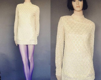 vintage 60s mod mini dress, beaded lace dress, 60s collector dress, beaded lace mini dress