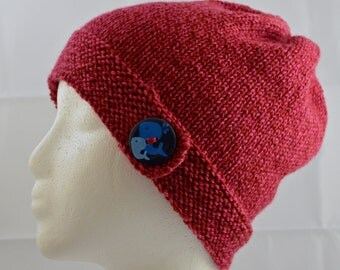 Red Knit Cloche, Whale Button Brim Hat, Hand Knit Beanie, Knitted Winter Hat, Whale Beanie, Knit Wool Hat, Warm Winter Hat