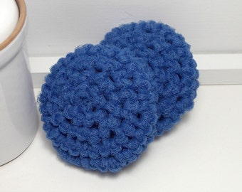 Crochet Dish Scrubby - Nylon Dish Scrubbies - Blue Scouring Pads - Crochet Scrubbies - Blue Scrubby - Kitchen Scrubbies - Set of 2