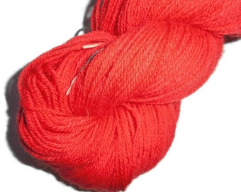 Red 1 Handdyed Corriedale Wool DK Weight Yarn, 3-ply, For Knitting, Crochet and Felting, Clear Red Hand Dyed Wool Yarn, Made in Denmark