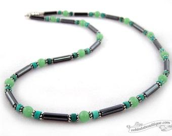 Mens hematite necklace, mens green necklace, mens necklace, necklace for man, mens jewelry gift, mens birthstone necklace mens jade necklace
