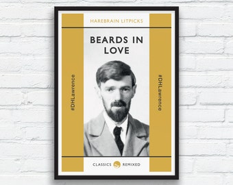 Beard Art Print, DH Lawrence print, Mustard and Charcoal Black Decor, Beard Play, Penguin Classics parody, Funny Beard Print, Printable Art