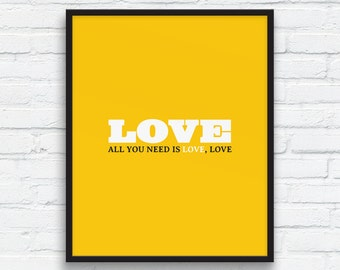 All you need is Love, Love Art Print , Love Wall Decor, Crocus yellow, couples gift, Love printable, Gift art print, Printable Art