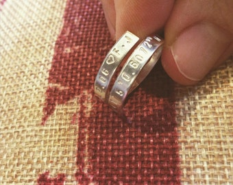 Sterling Silver Ribbon Ring Wedding Date Birthdates Coordinates