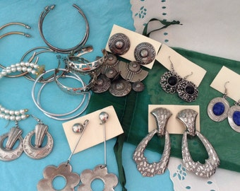 Hoop Earrings - Dangle & Drop Earrings - 12 pairs - Estate Sale - 1990s - Retro Jewelry - Deal of the Day! - Lots of Earrings - mixed lot