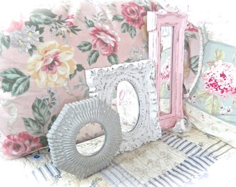 Shabby Pink White Gray Distressed Ornate Scalloped Scrolled Small Wall Mirror Picture Frame Cottage Chic Set of 3 READY TO SHIP