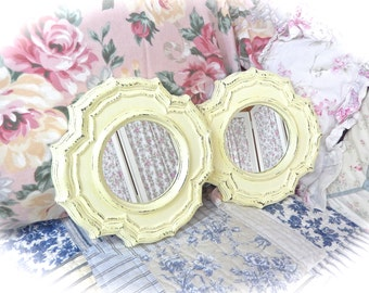 Shabby Lemon Meringue Yellow Distressed Ornate Scalloped Geometric Small Wall Mirror Cottage Chic Set of 2 READY TO SHIP