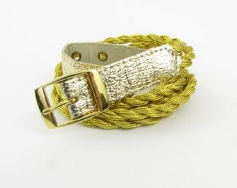 Vintage 1970s Women's Gold Braided Belt in Small Medium