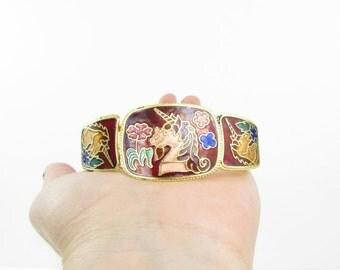 SALE Magical Unicorn Enamel Bracelet - Vintage 1980s Cloisonne Jewelry in Burgundy + Gold