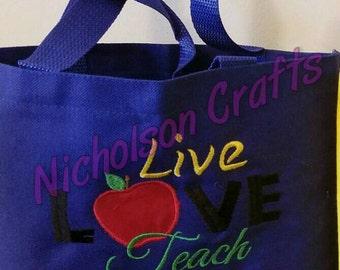 Live Love Teach Personalized Teacher Canvas Tote - Small