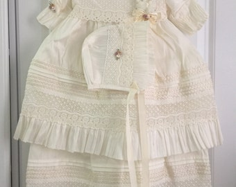 Christening outfit for girls,Baptism Dress, girl Christening dress, silk dress,baptism dress set, baptism set dress with Boonet,baptism Gown