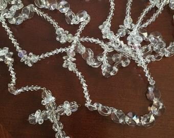 "Swarovski Crystal Wedding Lasso, 34"" Glass Lazo for Wedding / clear white glass bead Lazo/ Lazo de vidrio  para boda / Bridal Lazo / Narelo"