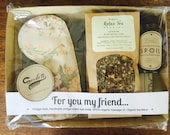 Vintage styled relaxation gift pack 'For You My Friend'. Handmade vintage cotton eyemask, vintage book, organic herbal tea and massage oil.