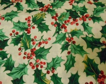 Christmas Fabric, Holly Leaves, Red Berries,