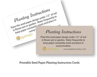 Printable Seed Paper Planting Instructions - Add On to Your Seed Paper Purchase -- INSTANT DOWNLOAD -- Print at Home on Your Own Printer