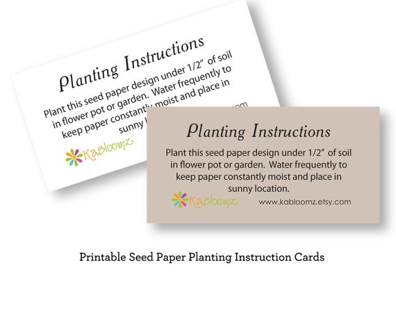 DIY Printable Seed Paper Planting Instructions Add On to