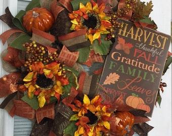Fall Wreath, Deco Mesh Wreath, Welcome Wreath, Sunflower Wreath, Thanksgiving Wreath, Pumpkins, Fall Leaves