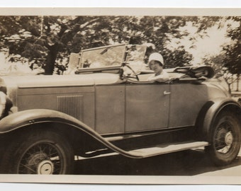 Vintage Photo Woman Drives Antique Car Auto Memorabilia Automobile Ephemera Old Black And White Photograph