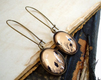 Crow Earrings in Bronze - Raven Earrings - Blackbird - Magpie