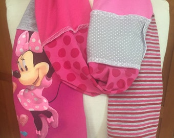 UPCYCLED t-shirt scarf... MINNIE MOUSE... DIsney... pink, gray, white