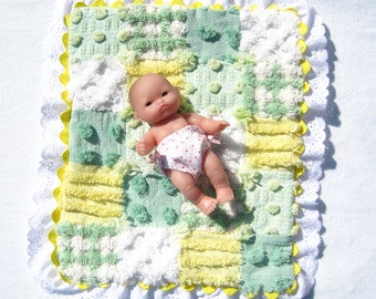 "Small Doll Quilt Doll Blanket Lemon Yellow and Lime Doll Quilt Chenille Patchwork Quilt for 6"" Doll or less Small Doll Blanket Doll Blanket"