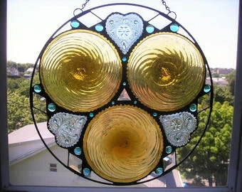 Stained Glass Art|Round Glass Panel|Tiara Heart Plates|Gold Spiral Rondels|Beveled Glass|Turquoise Glass|OOAK|Handcrafted|Made in USA